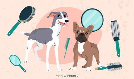 Salón de belleza de perros lindos