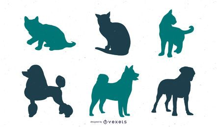 Dog And Cat Silhouette Set