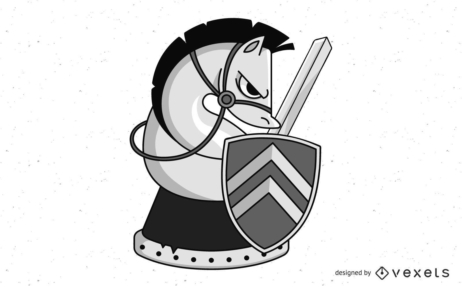 Diseño de pieza de caballo de caballero de ajedrez