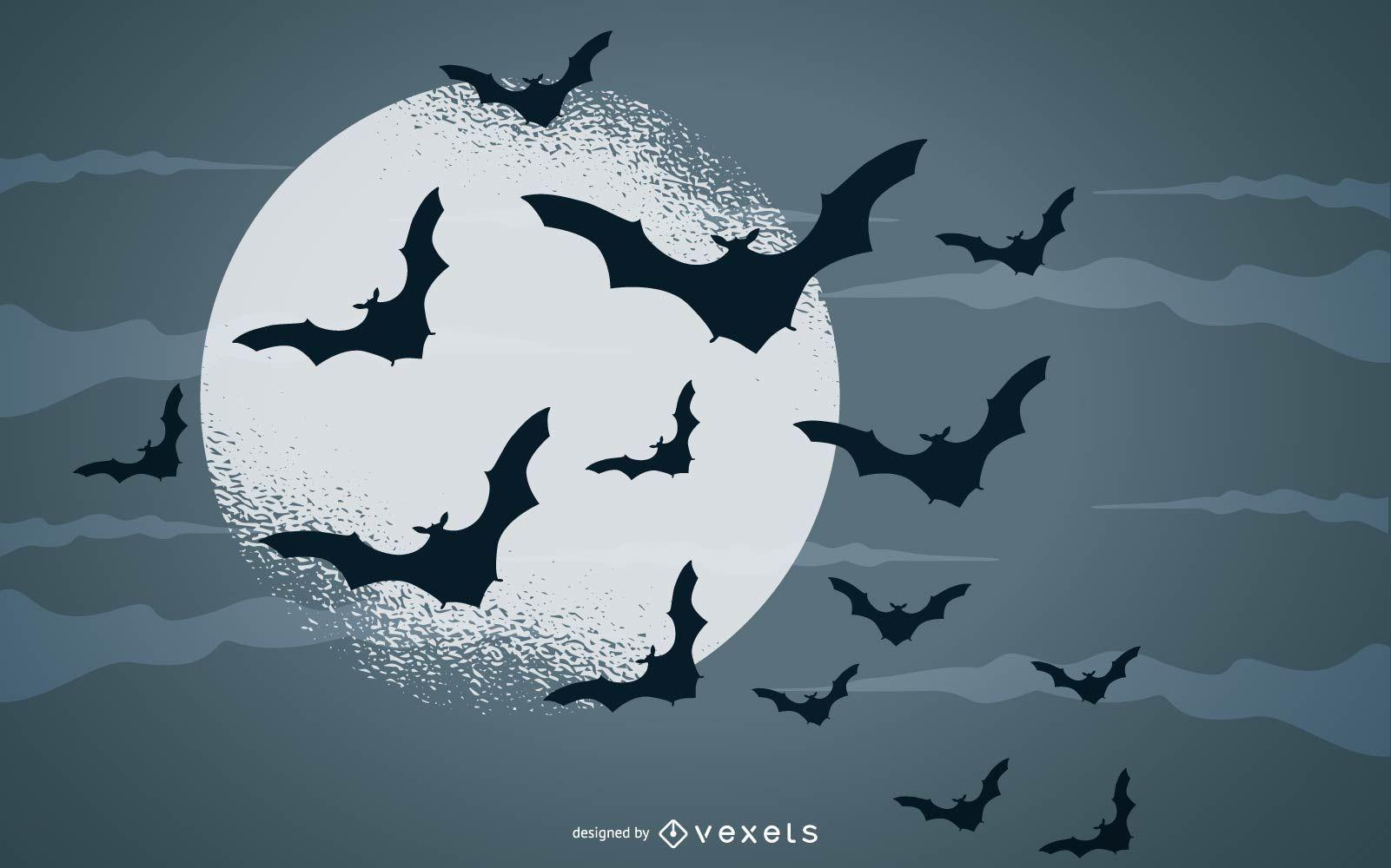 ilustración de luna llena de murciélagos