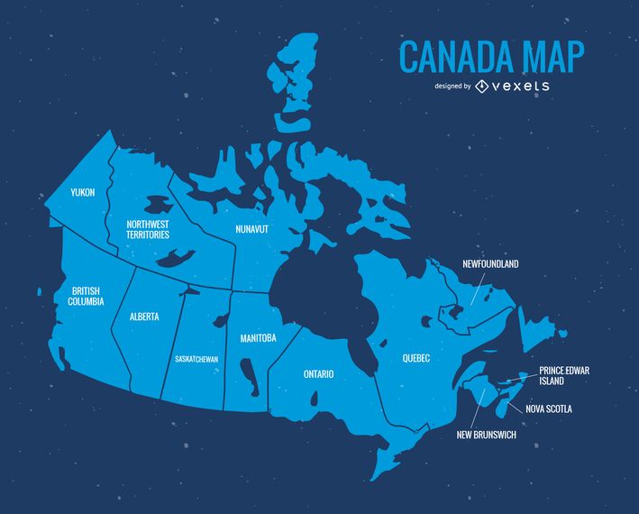 Blue Canada Day Vector Map