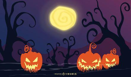 Assustador fundo de abóbora de Halloween