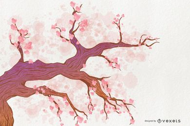 Árvore em flor de cerejeira rosa