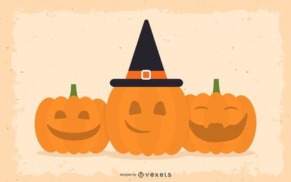 Lächeln und glückliche Halloween-Kürbise