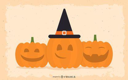 Sorriso e abóboras felizes de Halloween