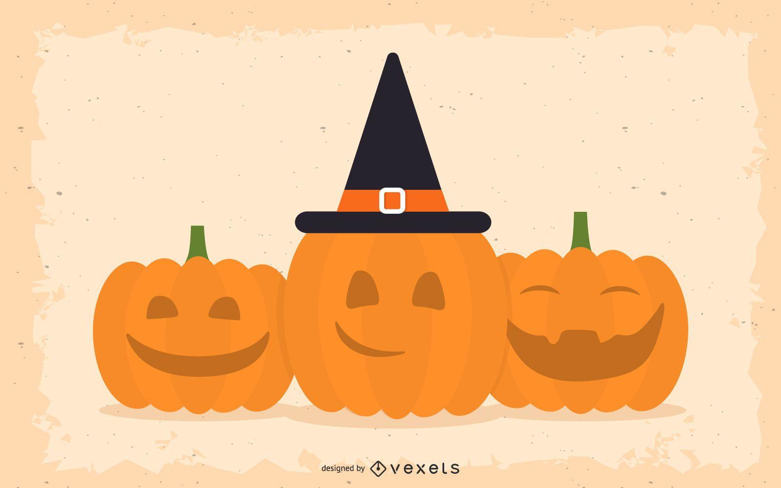 Calabazas de Halloween sonrientes y felices