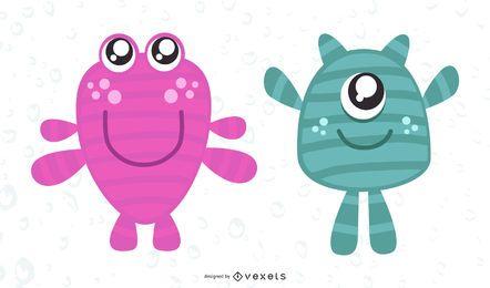 Cute monsters illustration design