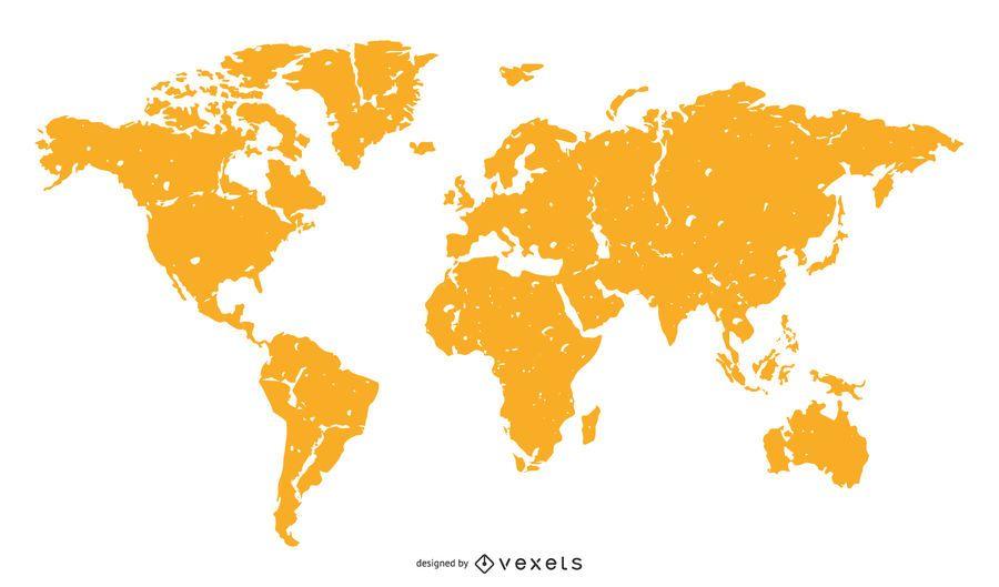 World Map Orange Silhouette