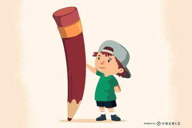 Garoto de vetor livre com lápis