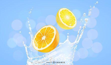 Orange slices splash illustration design