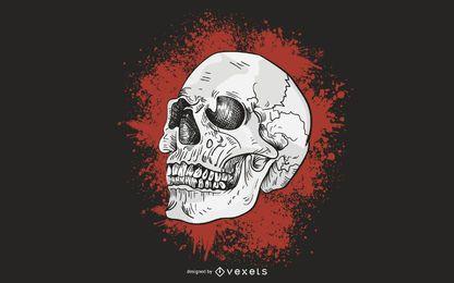 Grunge skull blood illustration
