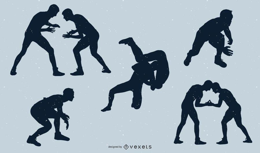 Wrestling silhouette set