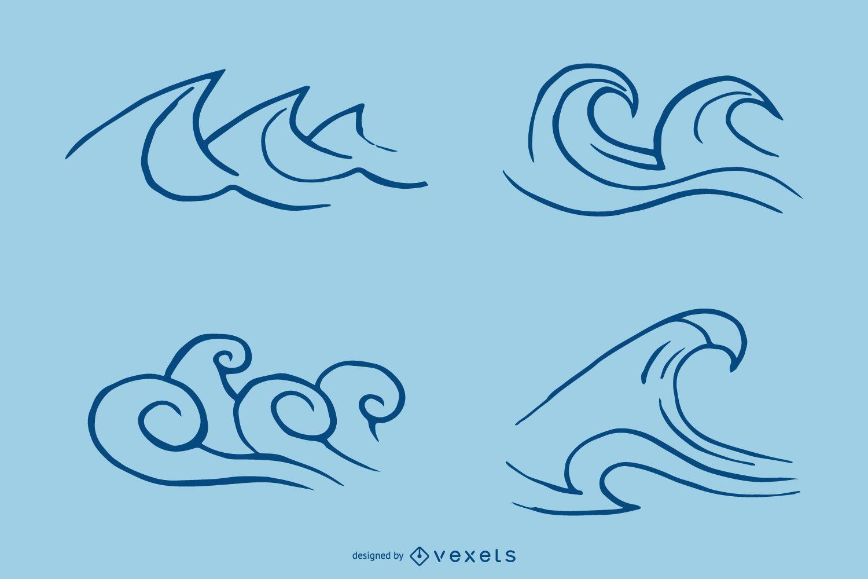 Wave stroke icon set