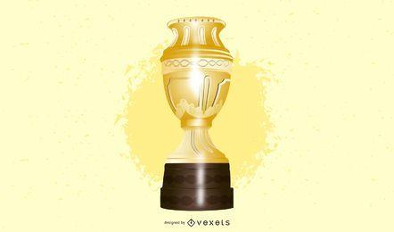 Trofeo de oro y medallas de plata Vector