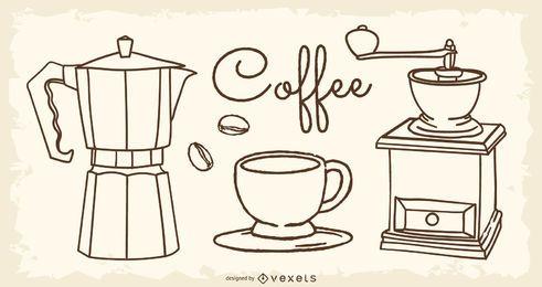 Elementos de linha de projecto de café 02 Vector