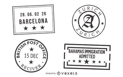Passport and Post Stamp Seal Set