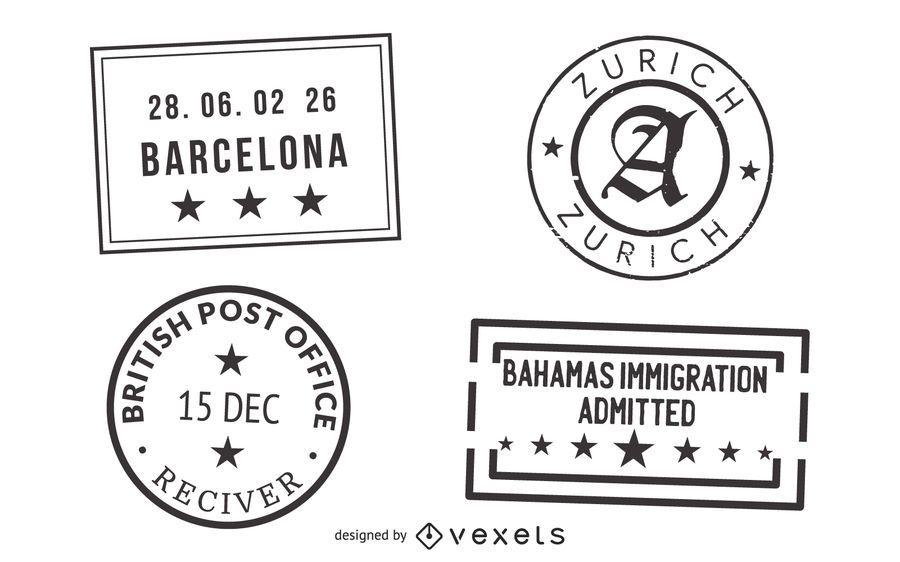 Sello de pasaporte sello 03 vector