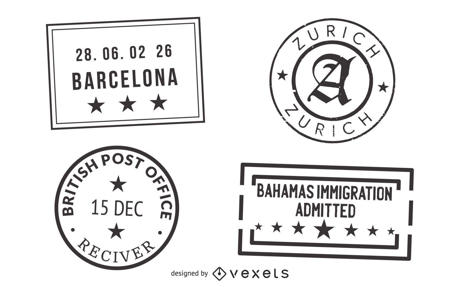 Passport and Post Stamp Seal Set