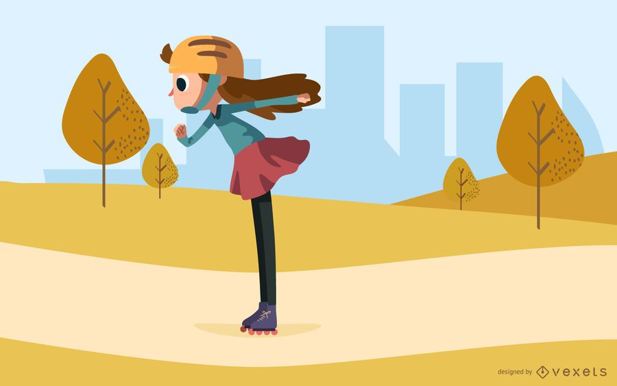 girl roller skating park illustration