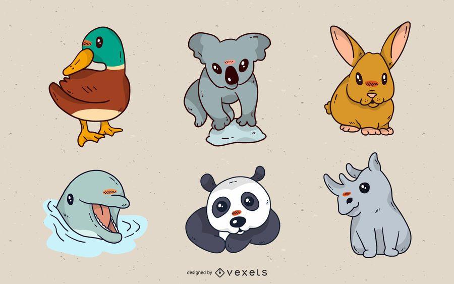 Uma variedade de animais super fofos