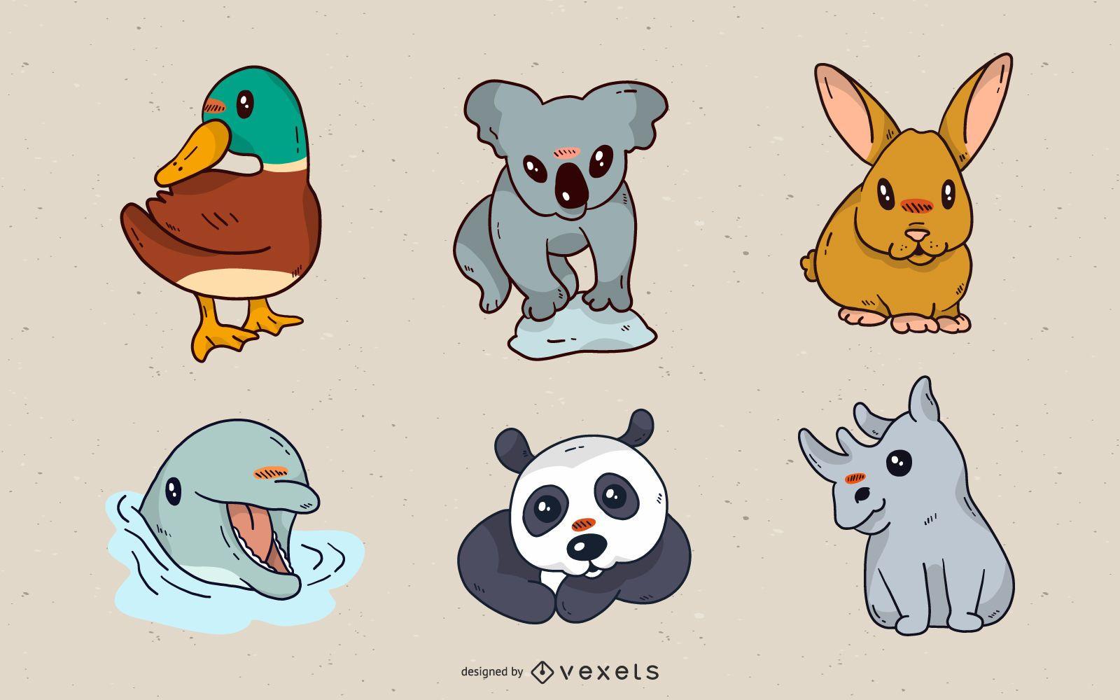 Cute small animals illustration set