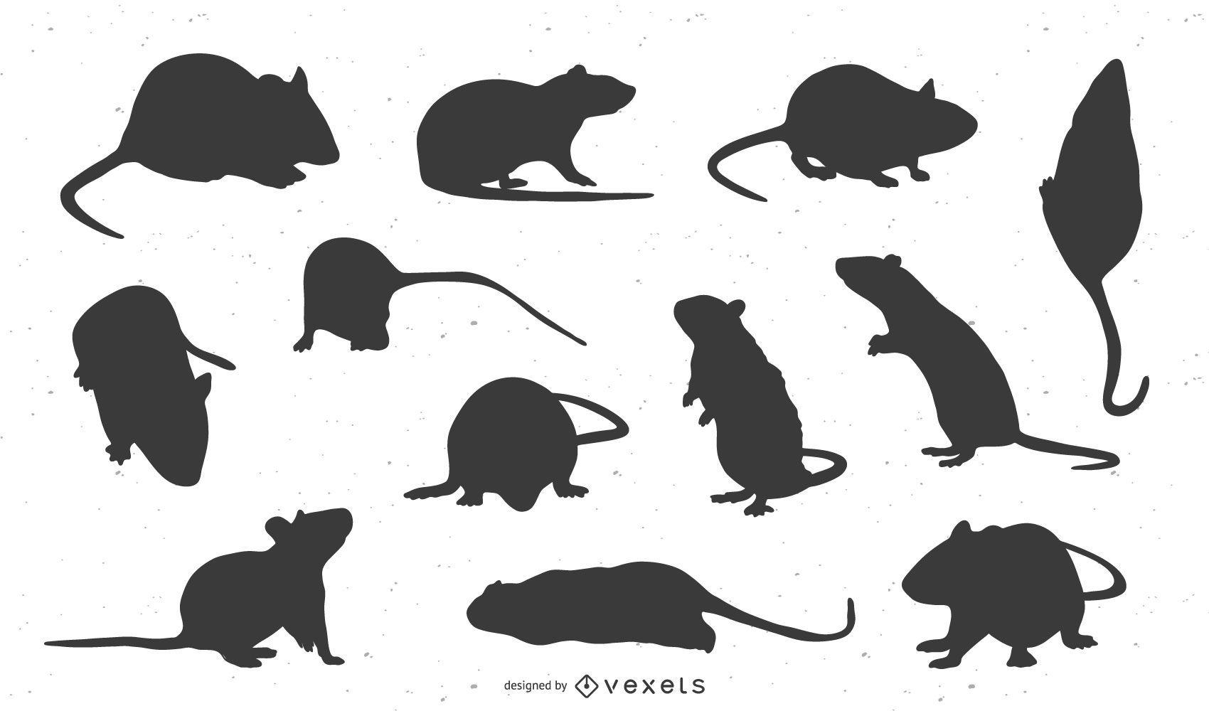 mice animal silhouette set
