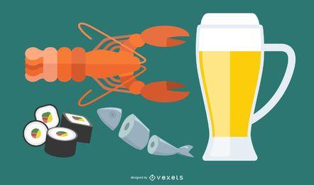 Beber cerveza y otro vector
