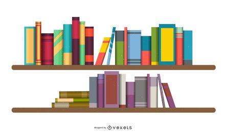 Vector de estantes de libros