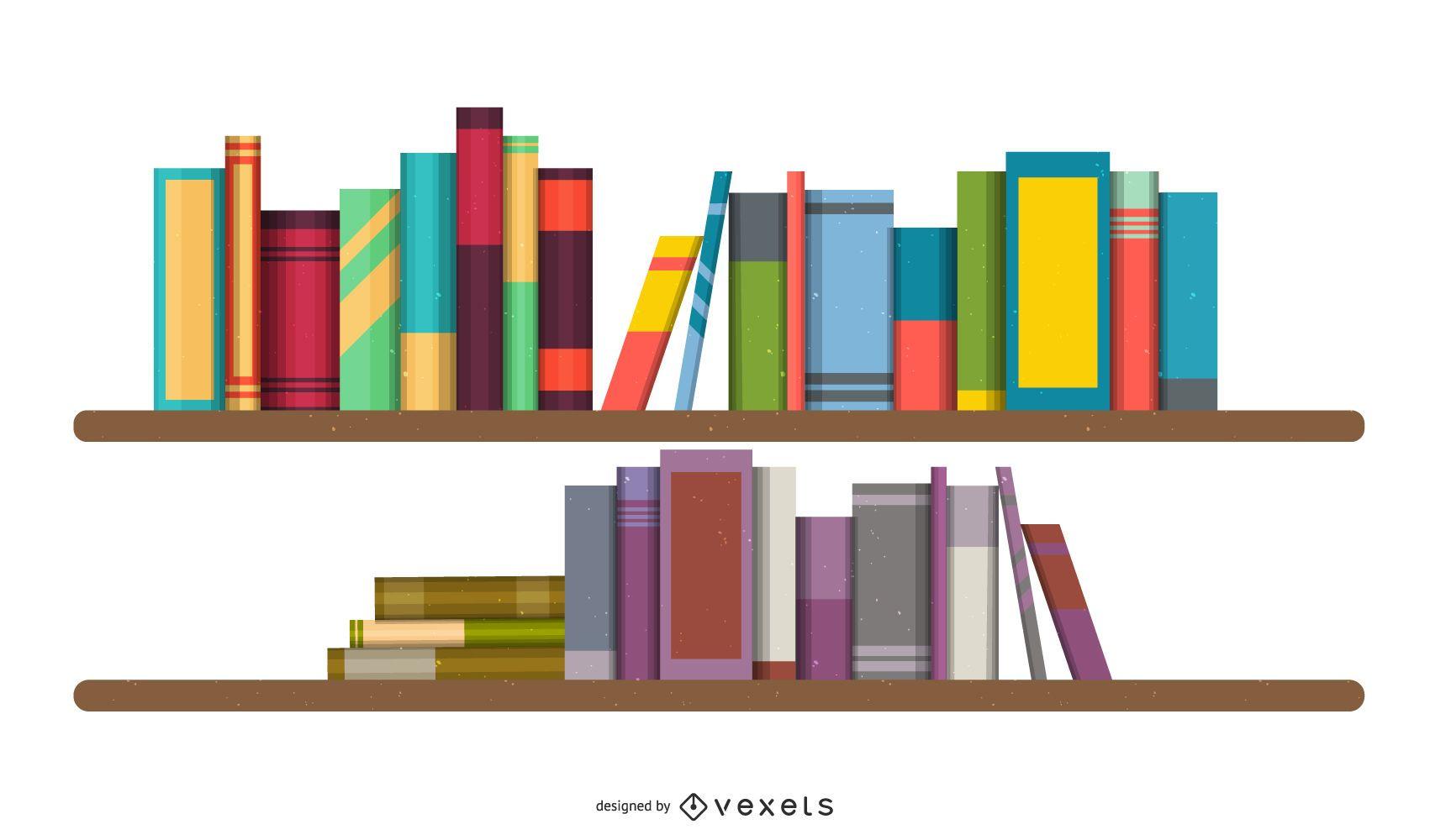 Vetor de estantes de livros