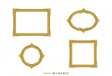 Antiker Vektor des Goldrahmens 02