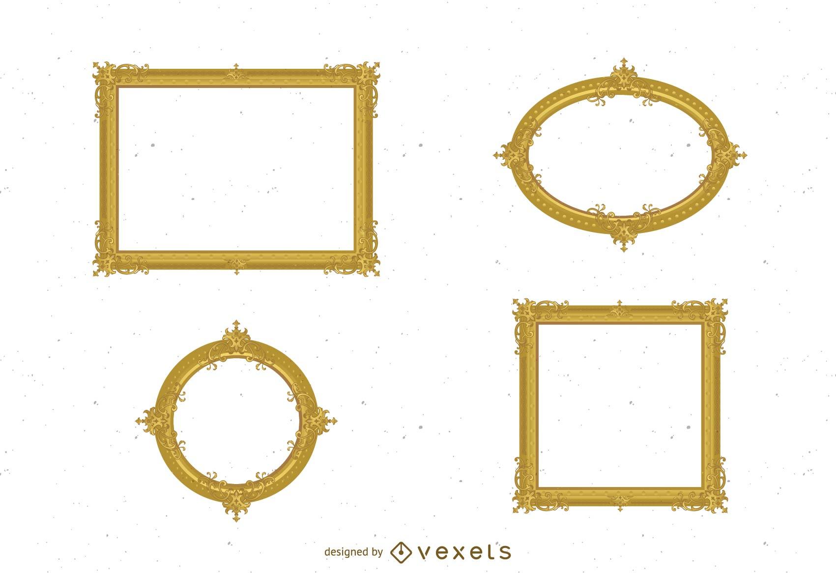 Antique Gold Frame 02 Vector