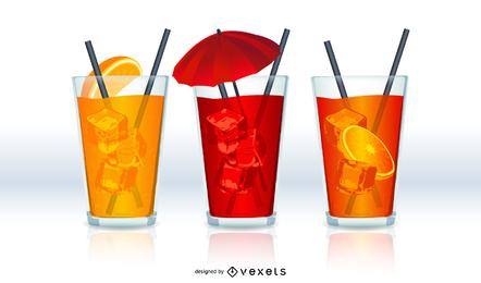 Conjunto ilustrado de 3 bebidas