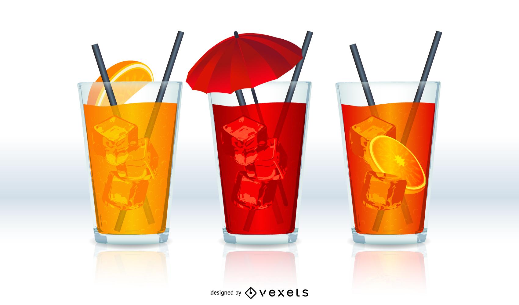 3 drinks illustrated set