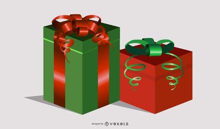 Conjunto de caixas de presente de presentes de vetores