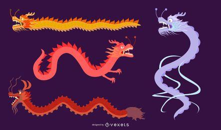 Dragón clásico chino Vector de los cuatro