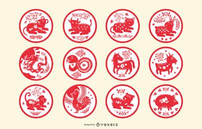 Chinesestyle Tinta Auspicioso Año Nuevo 17