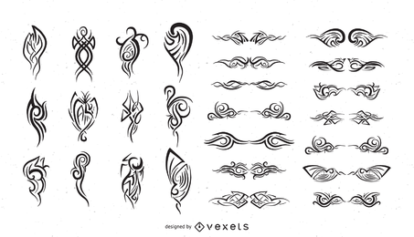 Reihe von Schwarzweiss-Gestaltungselement-Vektor-15-Totem