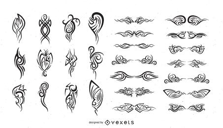 Serie de elementos de diseño en blanco y negro Vector 15 tótem