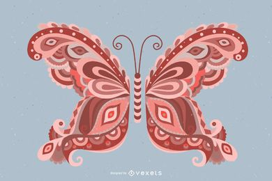 Butterfly illustration with swirls