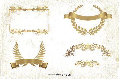 Vetor de elementos decorativos de ouro europeu