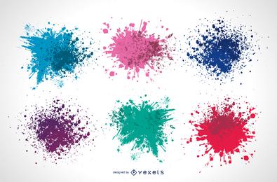 Vector de salpicaduras de tinta colorida