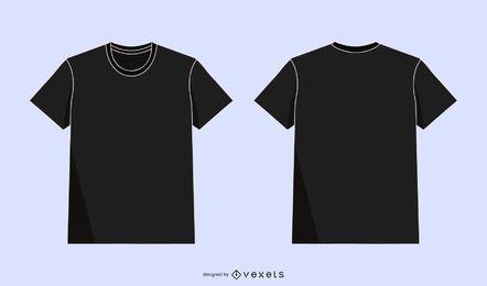 Pack de ilustraciones de la parte delantera trasera de la camiseta del vector