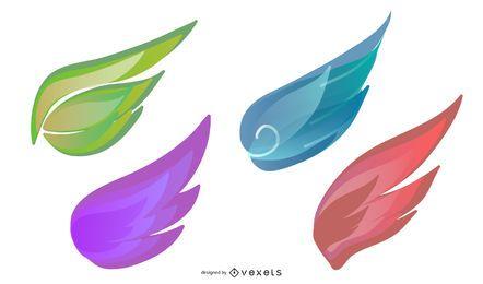 Weiße Flügel-Vektor-Sammlung