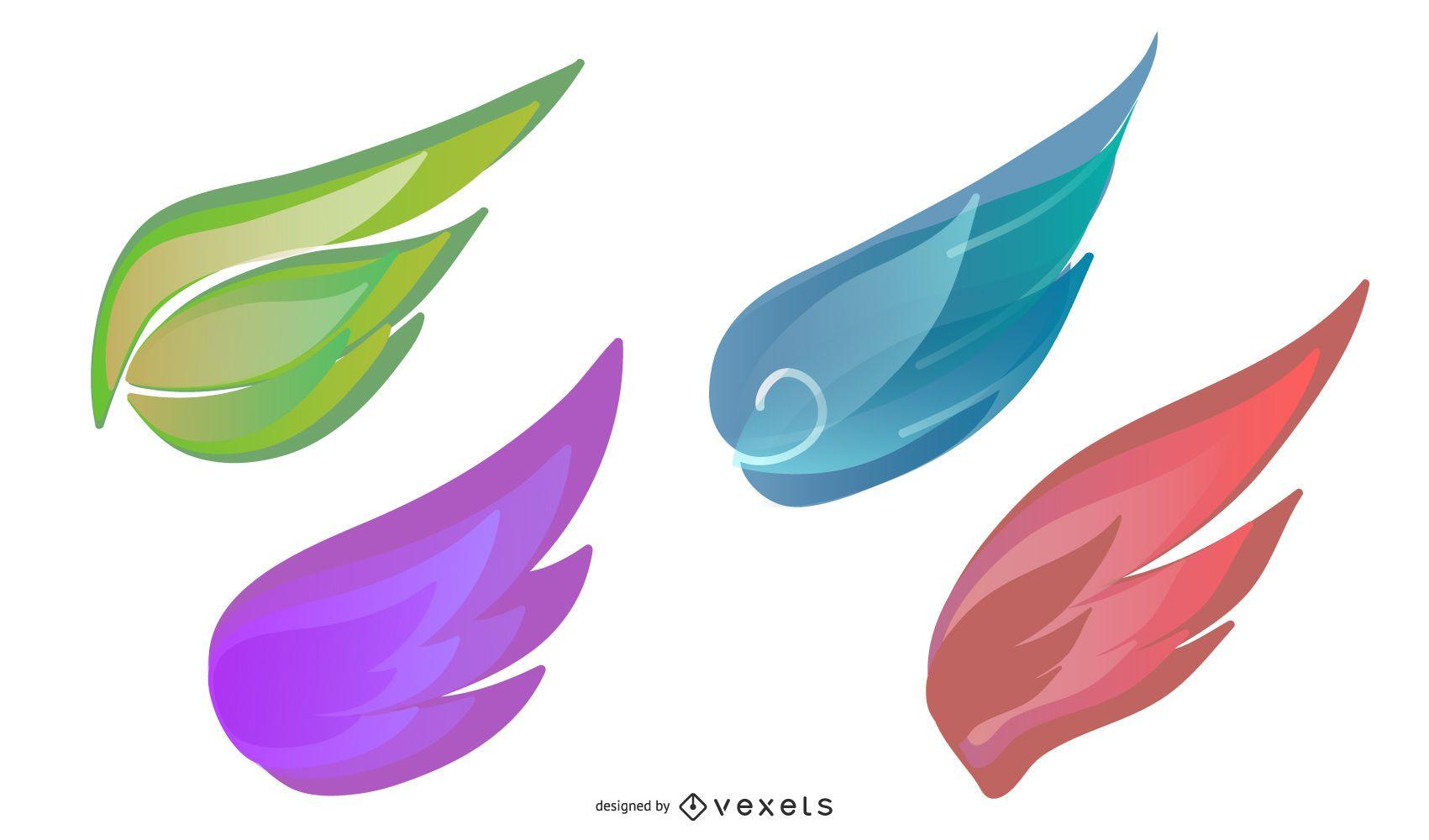 conjunto de ilustración de alas de colores