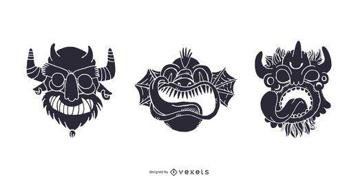 Máscaras de monstros tribais