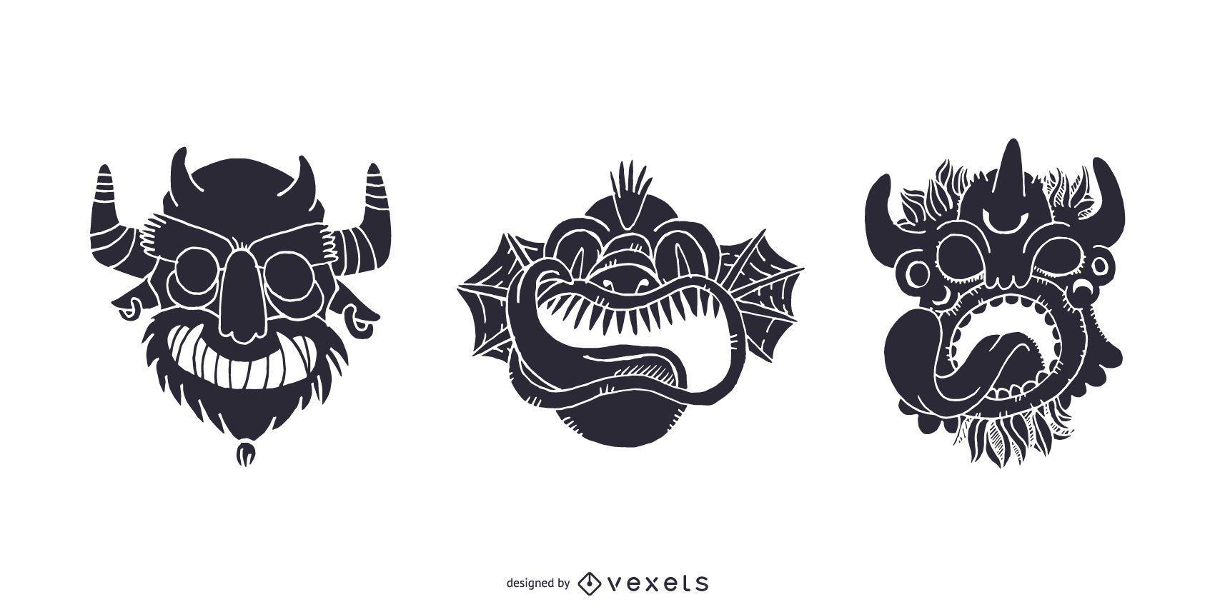 Tribal Monster Masks