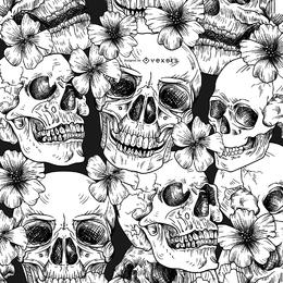 Nahtloses Muster mit Schädeln und Blumen