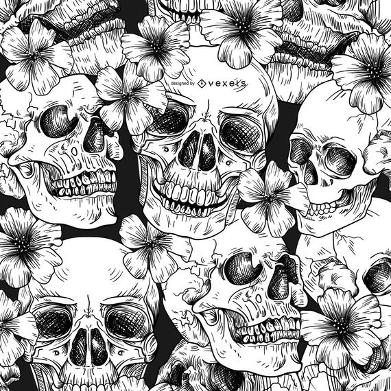 Patrón sin fisuras con calaveras y flores