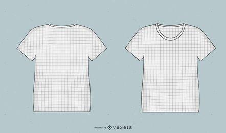 Camisetas de maquetas de plantillas con rejilla