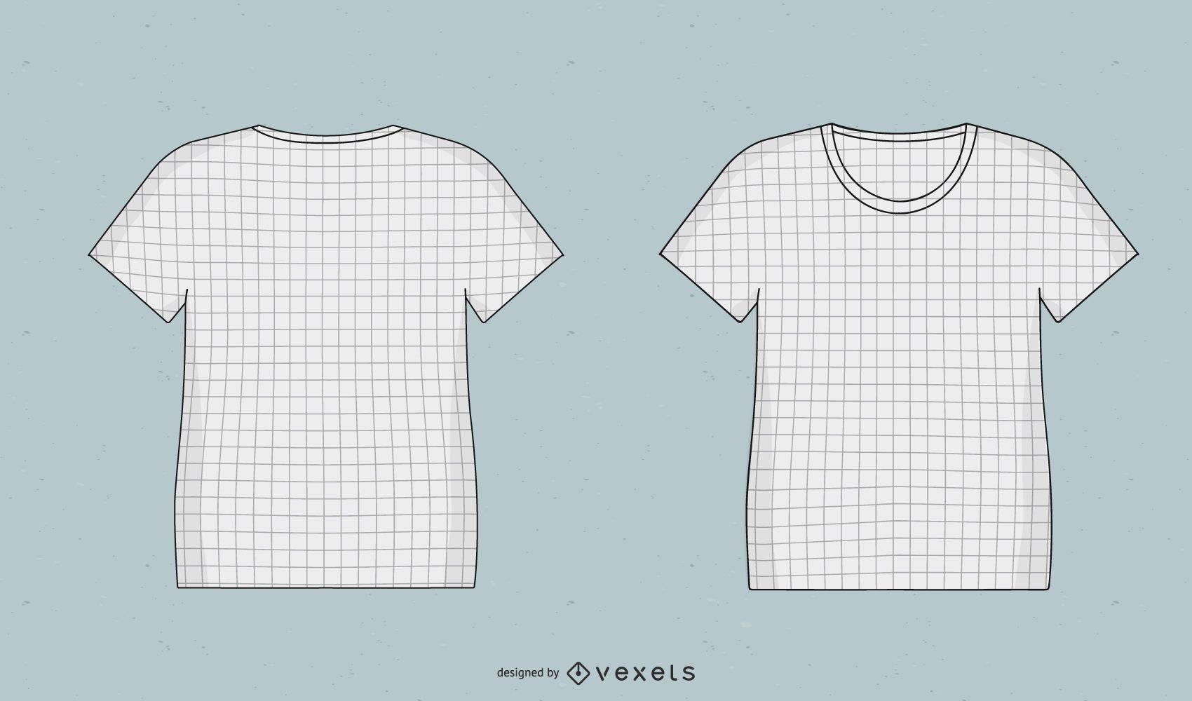 Conjunto de ilustración de camiseta de diseño de cuadrícula